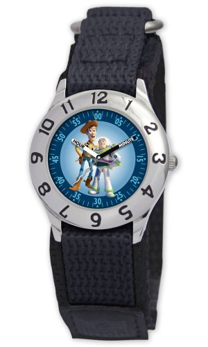 Disney Kids' D013S500 Toy Story Time Teacher Black Velcro Watch