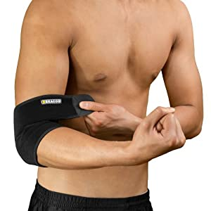 Bracoo Breathable Neoprene Elbow Support, One Size, Black