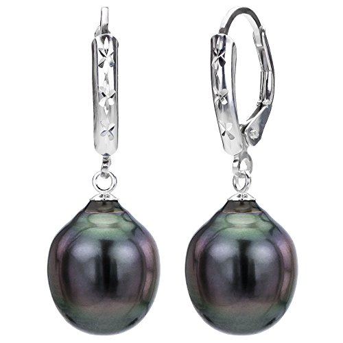 925 Sterling Silver Cultured Baroque Black Tahitian Pearl Earrings Leverbacks 10-10.5mm