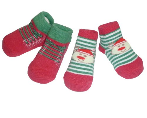 2 Pair of First Christmas Baby Socks in Green, Red, White