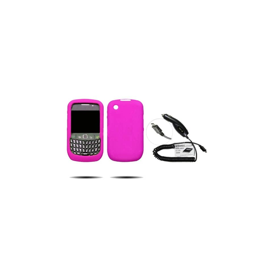 (2 Piece Combo Pack) Fortress Brand HOT PINK Silicone Gel Skin Case / Rubber Soft Sleeve Protector Cover + Premium Micro USB Plug In Car Travel Charger For Blackberry 8500, 8520, 8530 + Free Universal Screen Protector.