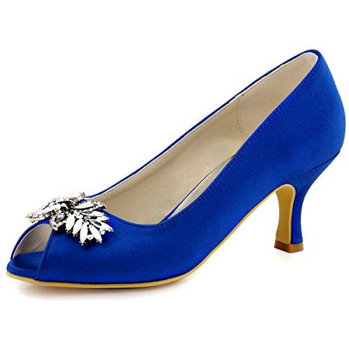 ElegantPark HP1540 Women Peep Toe Pumps Leaf Rhinestones Comfort Heel Satin Wedding Bridal Dress Shoes Royal Blue US 8