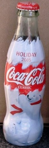 2005 Holiday Edition Christmas Cola Polar Bears Commemorative Coca Cola Full Unopened Bottle 8 Oz (Plastic Imprinted Wrap Around Bottle) (Coca Cola Holiday Soda Bottle compare prices)