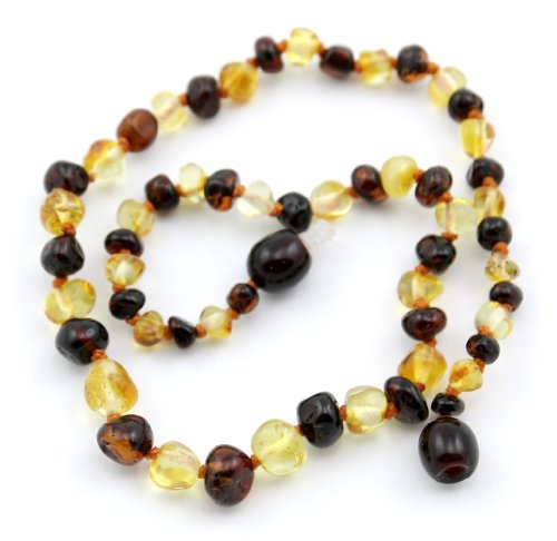 The Art Of Curetm *Safety Knotted* Cherry Multicolored - (Unisex) - Certified Baltic Amber Baby Teething Necklace Highest Quality Guaranteed- Anti Inflammatory, Drooling & Teething Pain. Easy To Fastens With A Twist-In Screw Clasp Mothers Approved Remedie