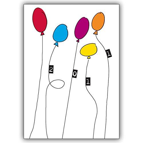 1 Silvesterkarte: Verschicken Sie Silvester Grüße mit knallig bunten Ballons