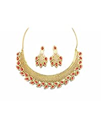 Sempre Of London Red Marquise Imperial Necklace With Designer Earrings With Gold Two Tone Plated In Austrian Crystal...