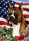 Boxer Fawn Cropped Dog - Tamara Burnett Patriotic I Garden Dog Breed Flag 12'' x 17''