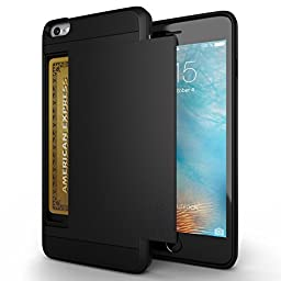 iPhone 6 Case, Zeox(TM) Shock Resistant [Pocket Wallet] Cover iPhone 6 Card Slot Case Protective Shell - Flexible Shockproof Rubber Bumper Frame Case with Anti-scratch Hard PC Back Cover Skin- Credit Card Wallet Case for Apple iPhone 6 4.7 Inch - Black