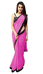 Women's Exclusive Pink Georgette Plain Sari with Blouse