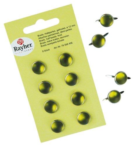 Rayher - 79568456 - tachuelas, de peluche, consumió, diámetro 12 mm, SB-tarjeta 8 pcs, Olive