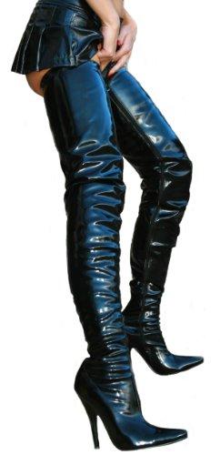 High-Heels-Stiefel: EROGANCE Lack High Heels Crotch Overknee Stiefel A3623L / EU 36-46
