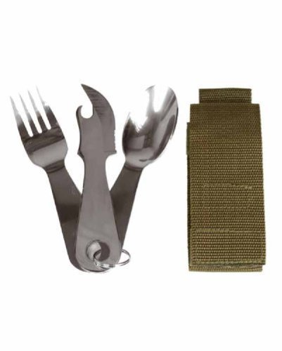 Stainless Steel Cutlery Set with Ring and Pouch Camping Fishing