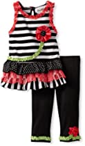 Rare Editions Girls 2-6X Knit Capri Set, Black/Coral/White/Lime, 4T