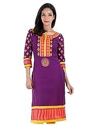 Purple Fantasy ESTYLe Casual Cotton Kurta With Handblock Prints