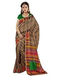 Prafful Silk Bhagalpuri Printed Saree With Unstitched Blouse - B00KNURKVE