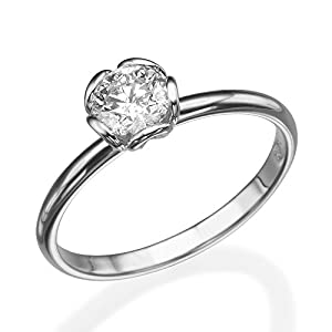 IGI Certified 14k white-gold Round Cut Diamond Engagement Ring (0.53 cttw, F Color, VS2 Clarity) - size 7.5