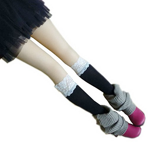 Silkly Women's Cotton Lace Solid Soft Sports Knee High Footed Stockings Socks