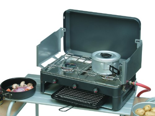 SunnGas Grillmaster - Double Burner  &  Grill with Windshields Camping Stove