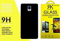 RKMOBILES oneplus3_cb_bc_blk_temp Combo Pack Of Perfect Fitting Rubberised Hard Black Back Cover + Curve Edge Tempered glass Screen Protector For One Plus 3/One Plus Three