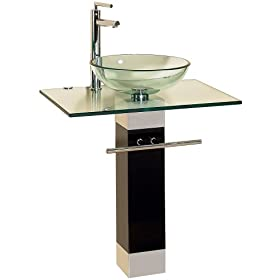 Bathroom Vanities Pedestal Glass and Sink Combo W Faucet