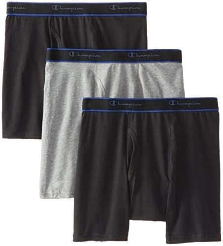 Champion Men's 3 Pack Performance Cotton Regular Leg Boxer Briefs, Assorted, Large (Champion Underwear Men compare prices)