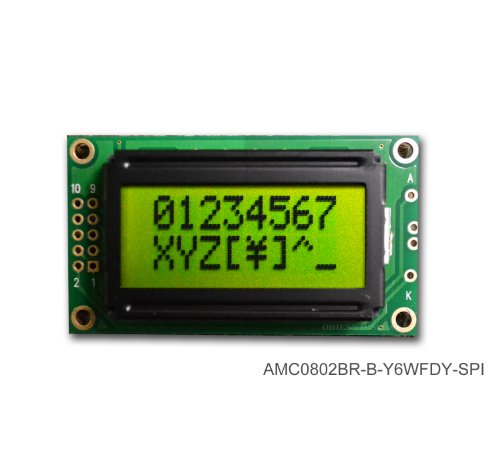 8X2 Character Lcd Module Black On Yellow Green With Yellow Backlight Serial Interface Amc0802Br-B-Y6Wfdy-Spi