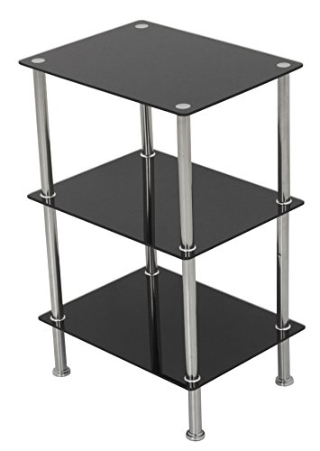 AVF S33-A Small 3 Tier Shelving Unit in Black Glass & Chrome (Glass Bookcase 3 Shelves compare prices)