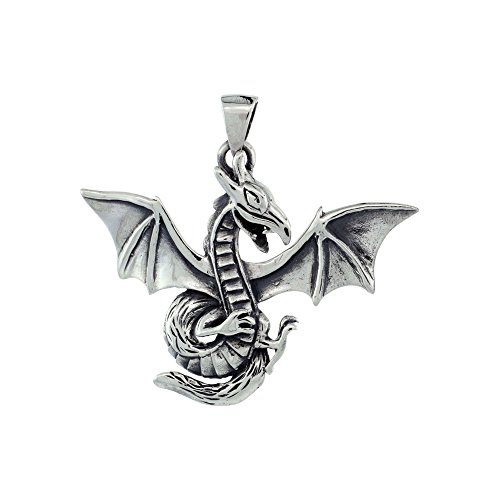 .925 Sterling Silver Dragon with Wings Charm Pendant