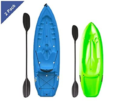 Lifetime Sit On Top Kayaks - 90189 2 Pack Kayaks - 1 Adult Blue and 1 Youth Lime Green