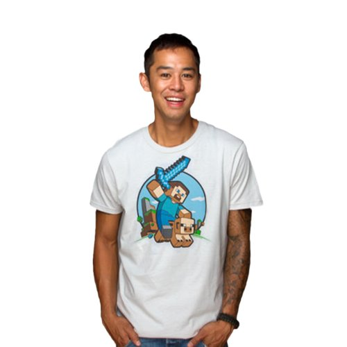 Minecraft-camiseta-de-jinete-de-cerdos-para-jugadores-estampado-frontal-grande-algodn-blanca-XXL