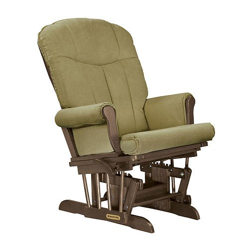 Shermag Deluxe Glider Tea Finish With Lichen Fabric front-655411