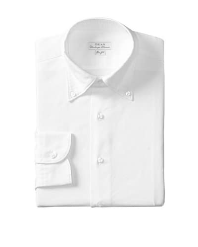 Orian Men's Slim Fit Washed Button Down Solid Oxford Dress Shirt