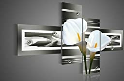 100% Hand-painted Wood Framed Black Pure White Lilies Home Decoration Landscape Oil Painting on Canvas 4pcs/set Wood Framed Mixorde