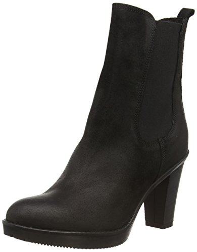 Fred de la Bretoniere Fred chelsea 13cm booty on 8cm heel rubber sole, Stivaletti Chelsea con imbottitura leggera, a mezza gamba donna, Nero (Schwarz (Black 002)), 39