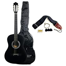 Austin Bazaar 38 Inch Black Acoustic Guitar with Gig Bag and Accessories