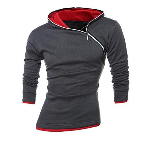 Felpa con cappuccio per gli uomini, FEITONG giacca invernale con cappuccio cappotto caldo outwear maglione (L, Grigio scuro)