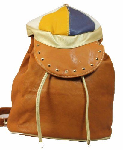 Quirky Arnold Cap Style PU Backpack Bag in Tan