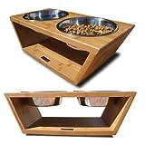 "Pet Lounge Studios Bambu Angled Diner Small 14"" L X 6.5"" W X 4"" H 2 bowls - 1 pint each"