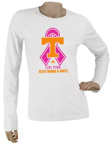 Tennessee Volunteers Women's adidas White Ribbon Logo Too Breast Cancer Awareness Garment Washed Long Sleeve T-Shirt