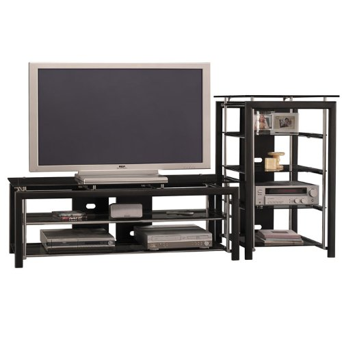 Cheap Black Widescreen TV Stand and Audio Tower (OFG-EF0021)