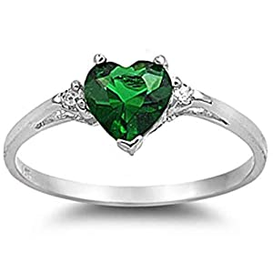 925 Sterling Silver Ring Emerald CZ-Heart Shape-Band Width:2mm