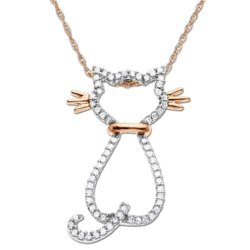 14k Rose Gold Diamond Cat Pendant (1/5 cttw)