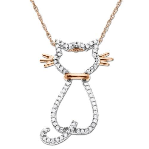 14k Rose Gold Diamond Cat Pendant (1/5 cttw)