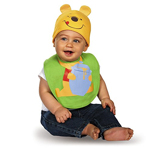 Disguise Baby's Disney Winnie The Pooh Infant Bib and Hat, Green/Yellow/Red/Black, 0-6 Months