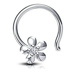 Vorra Fashion 925 Sterling Silver Round Cut Cubic Zirconia Flower Shape Womens Nose Pin