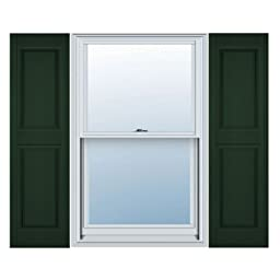 12 in. Vinyl Raised Panel Shutters in Midnight Green - Set of 2 (12 in. W x 1 in. D x 59 in. H (6.36 lbs.))