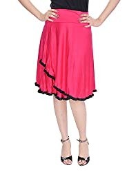 Soundarya Women's Cotton Knee Length Skirts (FL1, Pink)