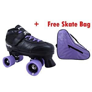 Epic Super Nitro Purple Childrens Girls Kids Boys Quad Indoor Speed Roller Skates with Skate Bag