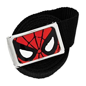 Marvel Comics Silver-tone Spiderman Black Nylon 48in Long Belt