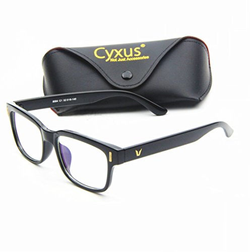 cyxus blue light blocking computer glasses for anti eye strain uv transparent lens black frame. Black Bedroom Furniture Sets. Home Design Ideas